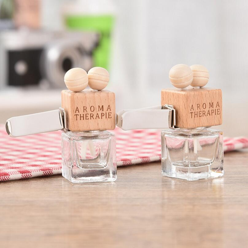 6ML Transparent Glass Car Perfume Tuber Square Car Perfume Bottle with Wooden Cap LX1466 ...