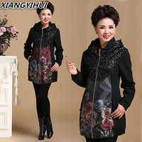 2017 brand high quality autumn Middle Aged Womens lace Lurex Jackets Ladies Warm Soft Coats Mother Overcoats Plus Size