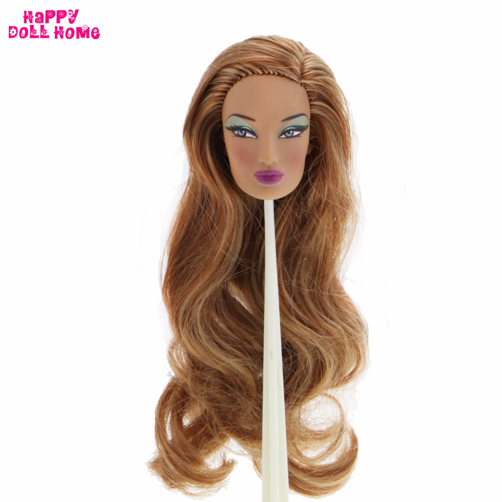 Limited Edition Collection Doll Head Long Brown Wave Curly Hair Green Eye Shadow DIY Accessories For FR 12 1/6 Doll Best Gift high quality doll head brown curly hair long eyelashes with fashion earrings diy gift accessories for 1 6 12 doll kids toy gift