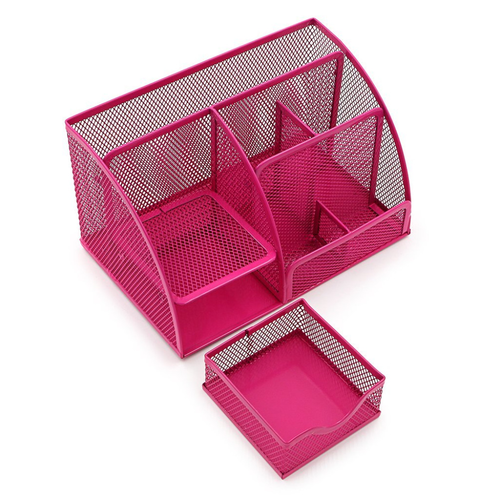 Incredible Us 6 15 23 Off Hot Pink Office Supplies Mesh Desk Organizer Desktop Pencil Holder Accessories Caddy With Drawer 7 Compartments In Stationery Holder Home Interior And Landscaping Sapresignezvosmurscom