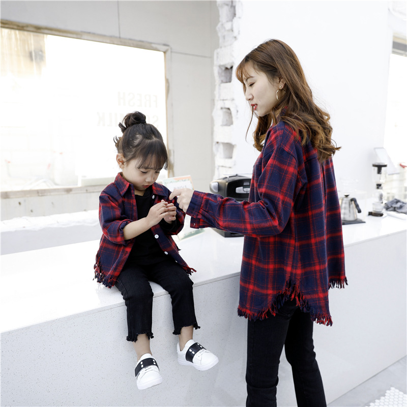 Family Matching Clothes Long Sleeves Outfits mom and Girls blouse shirt autumn Mother and Daughter kids