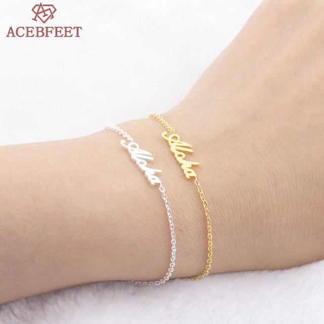 Acebfeet hawaiian greeting aloha letter bracelets for women men acebfeet hawaiian greeting aloha letter bracelets for women men bijoux femme gold silver hand link vintage m4hsunfo
