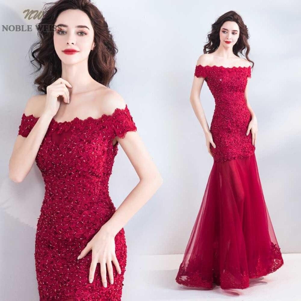 NOBLE WEISS rouge robes De soirée Appliques perles Sexy haute qualité Robe De soirée sirène Tulle fête Robe De bal
