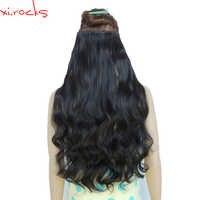 Wjj12070/2 Stück Xi. felsen Synthetische 5Clip in Haar Verlängerung Extensions Lockige Haarnadel Haarteil Naturl Schwarz Farbe 2