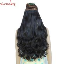 2 Piece Xi.Rocks 5 Clip in Hair Extension 70cm Synthetic Clips Extensions 120g Curly Hairpin Hairpiece Naturl Black Color