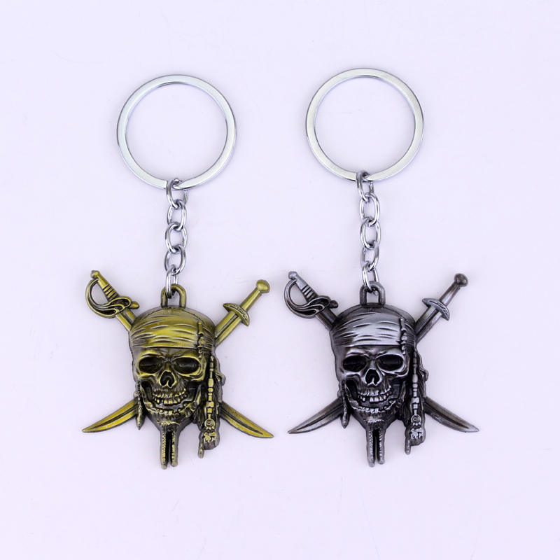 Movies Pirates of The Caribbean Keychians Jack Skull Keychain 2 colour