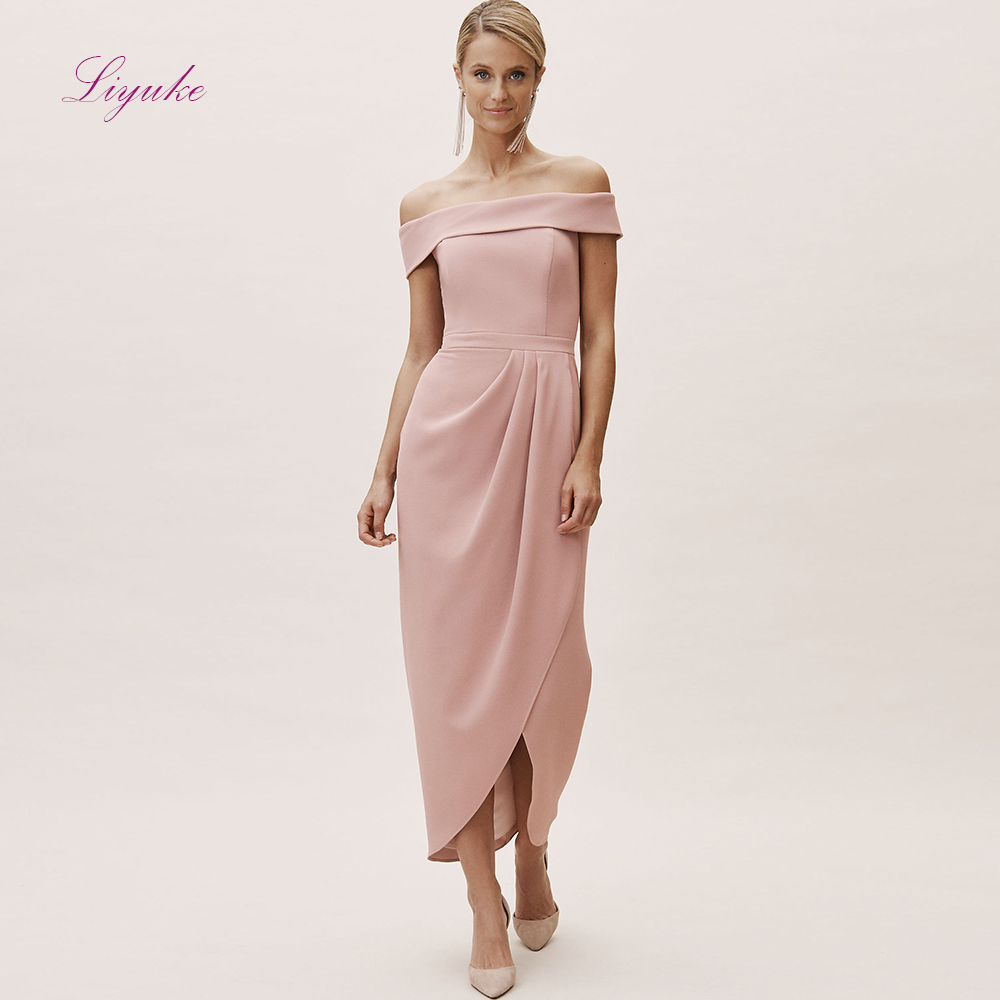 Liyuke Sheath   Bridesmaid     Dress   Boat Neck Off-the-shoulder Chiffon Long   dress   Customized Free Shipping