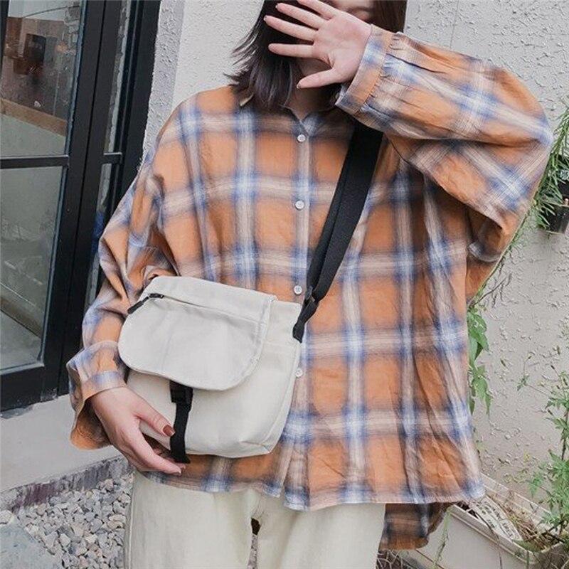 1PC Women Vintage Corduroy Canvas Bag Simple Fashionable One Shoulder Buckle Messenger Bag Solid Color Smart Girls Casual Bag
