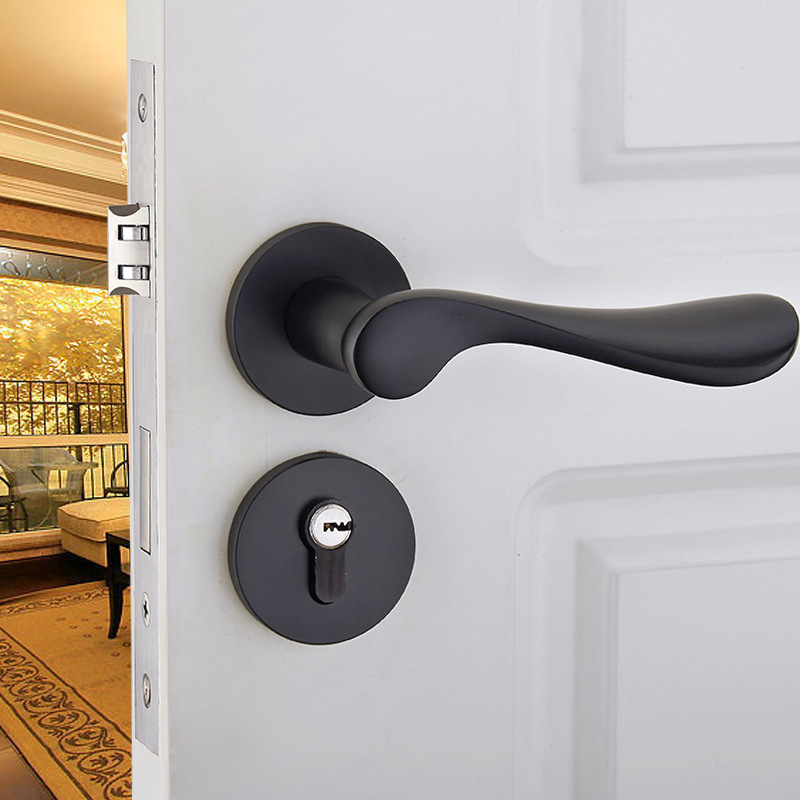 Black space aluminum treasure bedroom room door handle interior wooden door lock handle lock kit black space aluminum treasure bedroom room door handle interior wooden door lock handle lock kit