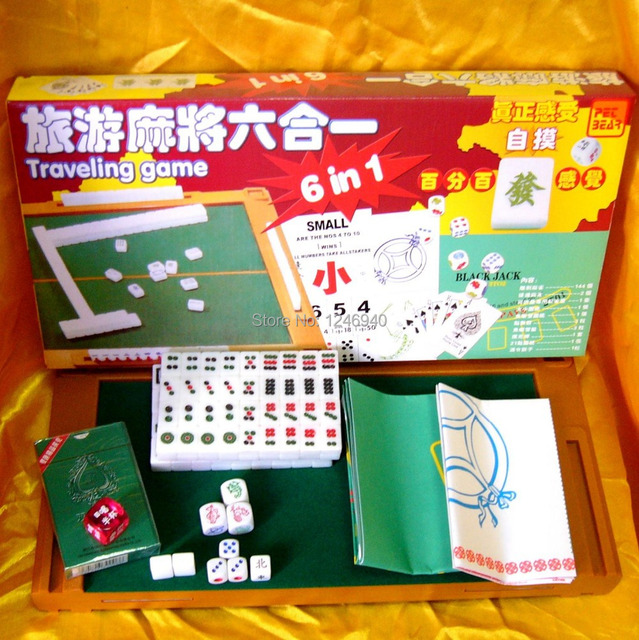 New Travel 6 In 1 Board Game Portable Mini Mahjong With Table
