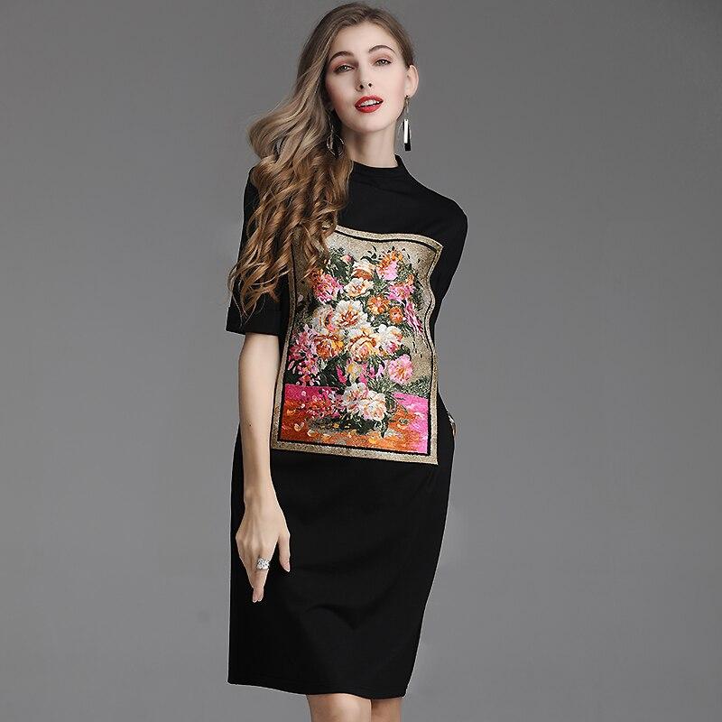6b821a6ba00 Black L huile Femmes Imprimé Taille Demi Tenue Printemps Été À Qualité  Décontractée Peinture Floral Nouveau ...