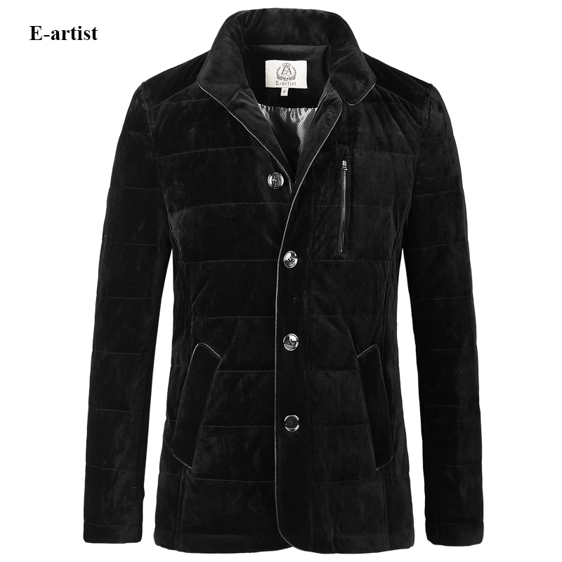 E-artist Mens Stand Velvet Duck Down Jackets Coat Male Business Casual Warm Parka Outwear Overcoat for Winter Plus Size 5XL Y36