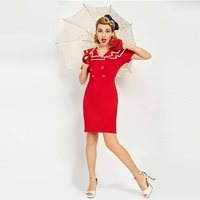 Sisjuly Women Luxury Bodycon Dress Vintage Nautical Style Button Dresses Spring Summer Female Red Retro Pencil
