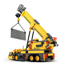 Kids Toys Blocks 380Pcs Model Toy Compatible Legoings Engineering City Building Crane Building Block Educational Brick DBP318 stzhou 1033pcs city engineering remote control rc train lepin building block compatible brick toy