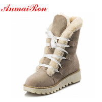 ANMAIRON Ankle Boots Women U S Large New Cute Style Warm Calf Suede Women Boots Flat