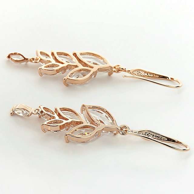 Women's Crystal Leaf Dangle Earrings