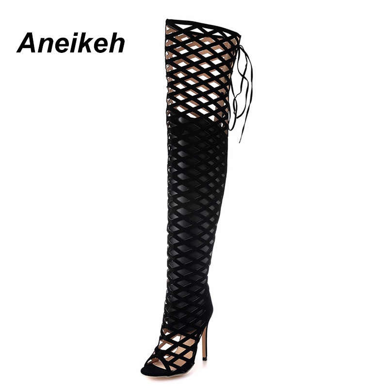 2eaae296d Aneikeh Thigh High Gladiator Sandals Boots Women Sexy Peep Toe Netted  Cut-out Over Knee