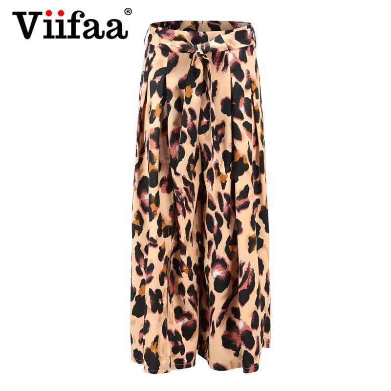 9ebd81b84e2a Viifaa Leopard Print Office Lady High Waist Pants Loose Streetwear Women  Wide Casual Slit Pants Trousers-in Pants & Capris from Women's Clothing on  ...
