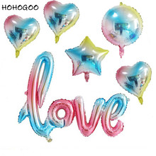 HOHOGOO 1PC Large LOVE Letter Balloon 18inch Heart Star Round Gradient Color Foil Wedding Birthday Party Decoration