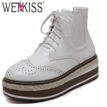 WETKISS 2016 British Oxford Thick Sole Lace up Ankle Boots Casual Shoes Woman Cutout Women Boots Wedges Platform Female Footwear