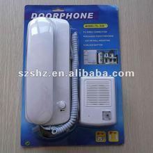 Gratis verzending 220 V goedkope prijs bedrade audio deurbel phone hoge kwaliteit audio intercom systeem met unlock functie