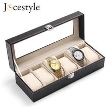 6 فتحات صندوق ساعة صندوق مجوهرات صندوق تخزين مزود بغطاء مجوهرات رفوف عرض الساعات حامل منظم