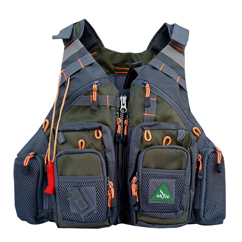 Army Green Mesh Fly Fishing Vest Utility Vest  Life Jacket Safety Waistcoat Cargo Pockets Fishing Backpack For Men and Women