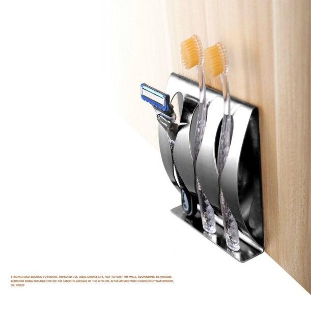 1 шт. настенное крепление из нержавеющей стали держатель для зубной щетки 3/2 крючок самоклеющаяся зубная щетка Органайзер мыльница, аксессуары для ванной комнаты