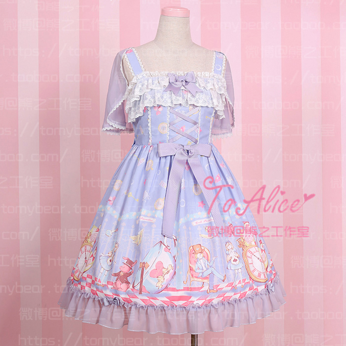 c49777a6a039a US $14.99 |Super Cute To Alice Alice in Wonderland Fairytale JSK Lolita  Dress Suspender Sleeveless Fancy Dolly Dress with Detachable Cape-in Lolita  ...