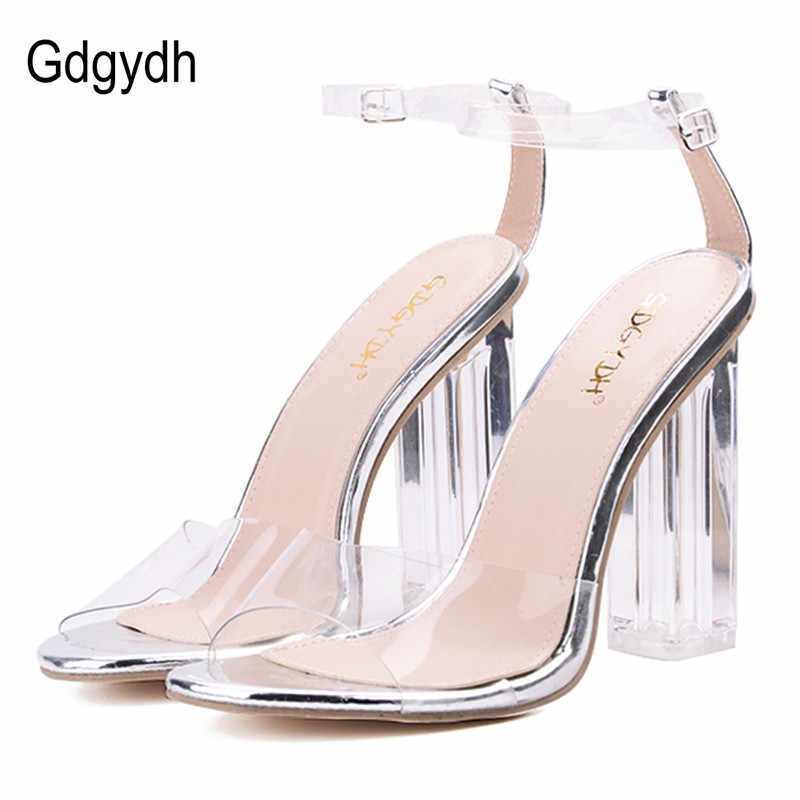 5a7ce53db850 Gdgydh Sexy Women Sandals Heels Crystal Leather PVC Open Toed Silver Ladies  Summer Shoes For Party