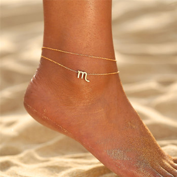 IF ME Multilayer 12 Constellation Zodiac Sign Anklets for Women Girl Gold Beach Ankle Bracelet On Leg Fashion Jewelry 2019 Gifts 1