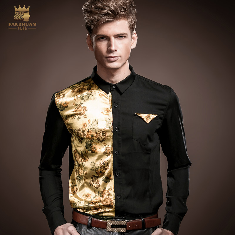 FANZHUAN Men's Shirt Long Sleeve Slim Stretch Autumn Palace Wind Men's Stitching Print Dress Shirt Men's Clothing