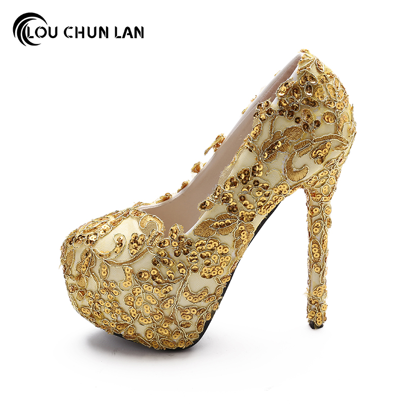 LOUCHUNLAN Shoes Women s Shoes Pumps Gold Wedding Shoes Bling High Heels  Round Toe Party Shoes Drop Shipping-in Women s Pumps from Shoes on  Aliexpress.com ... 40f50f4196e2