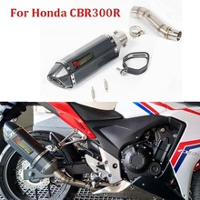Motorcycle Slip on for CBR300R Exhaust System Pipe Middle Mid Linking Tube Whole Set For Honda CB300F CB300R
