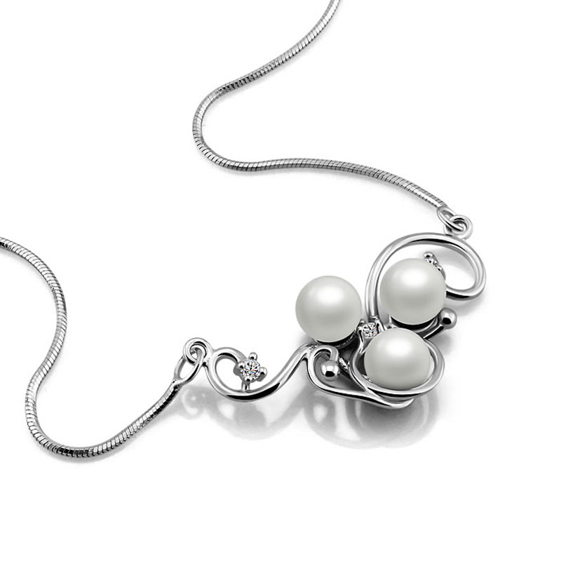Pearl pendant necklace charm women.Solid 925 sterling silver women necklace.Fashion lady dress necklace.Sterling silver jewelry