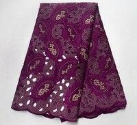 Последние Высокое качество швейцарская вуаль шнуровка Швейцария хлопка Африканский сухой хлопок кружевной ткани 2018 фиолетовый нигерийски