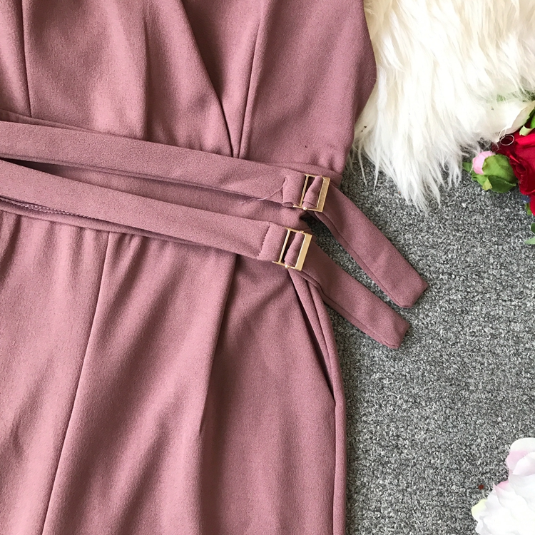 ALPHALMODA 2019 Spring Ladies Sleeveless Solid Jumpsuits V-neck High Waist Sashes Women Casual Wide Leg Rompers 22
