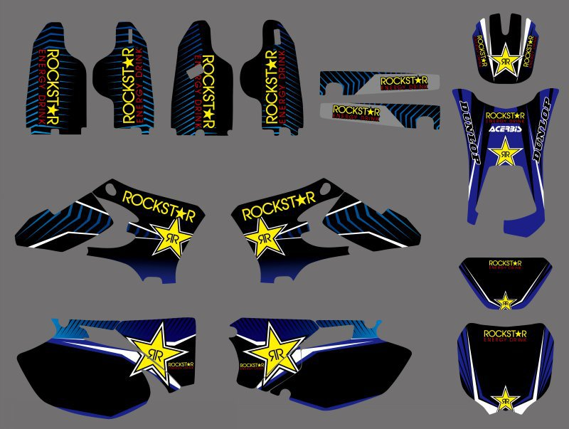 0498 Star NEW TEAM GRAPHICS BACKGROUNDS DECALS <font><b>Sticker</b></font> For <font><b>Yamaha</b></font> WR250F <font><b>WR450F</b></font> WRF250 WRF450 2005 2006 WRF 250 450 WR 250F 450F image