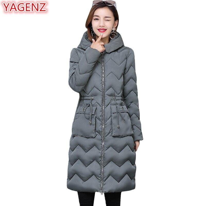 YAGENZ grande taille veste hiver femmes longs manteaux Parkas Mujer coton vestes vêtements à capuche femme manteaux poche vague motif 622