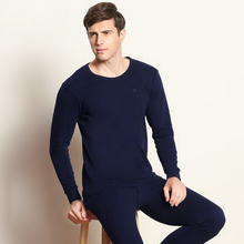 Men 's fall and winter thermal underwear sets 100% cotton sets V collar and Round collar design Large size XXXXL /tb111034