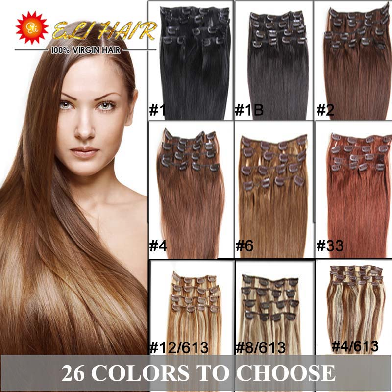 14-24inch Clip In Remy Human Hair Extensions Clip in Human Hair Extensions Black Brown Blonde Human Hair Clip In Extensions