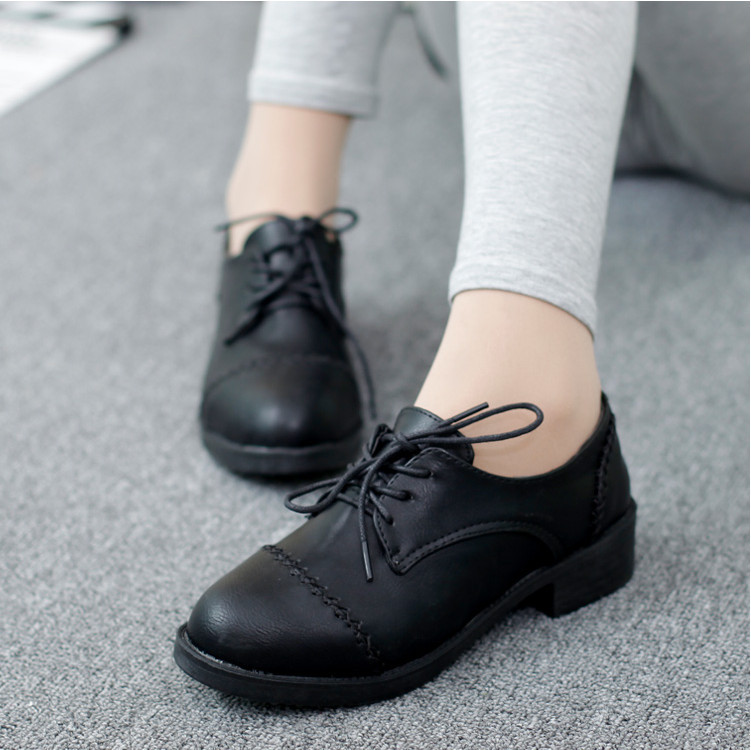 f05dbc98490 2015 New College Style Women Round Flat Shoes Black Leather Shoes Vintage  Wedge Single Shoes For Student Free Shipping -in Women s Flats from Shoes  on ...