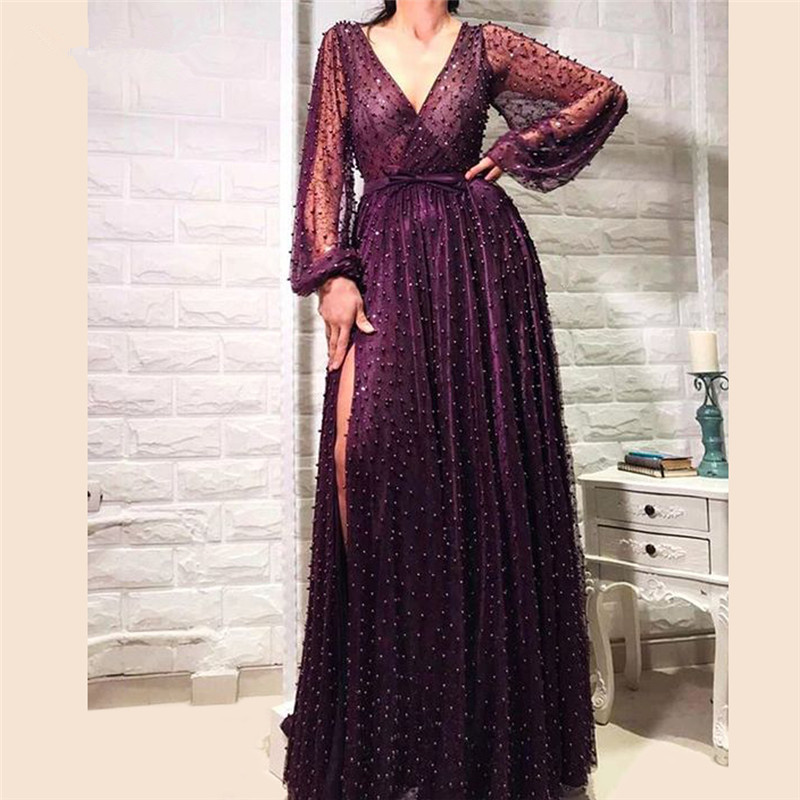 Purple Muslim Evening Dresses 2019 A-line V-neck Long Sleeves Pearls Long Islamic Dubai Saudi Arabic Long Formal Evening Gown