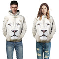 New Fashion Spring Hoodies Women Men Style 3D White Lion Printed Pensonality Couple Sweatshirt Hip Hop Hoodies Pullover Tops