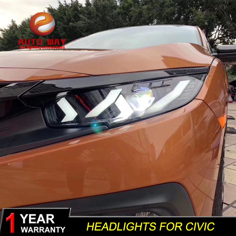 Cars Styling Headlight For Honda CIVIC X G10 MK10 Bugatti Type Headlights LED Running lights Bi Xenon Beam Fog angel eyes
