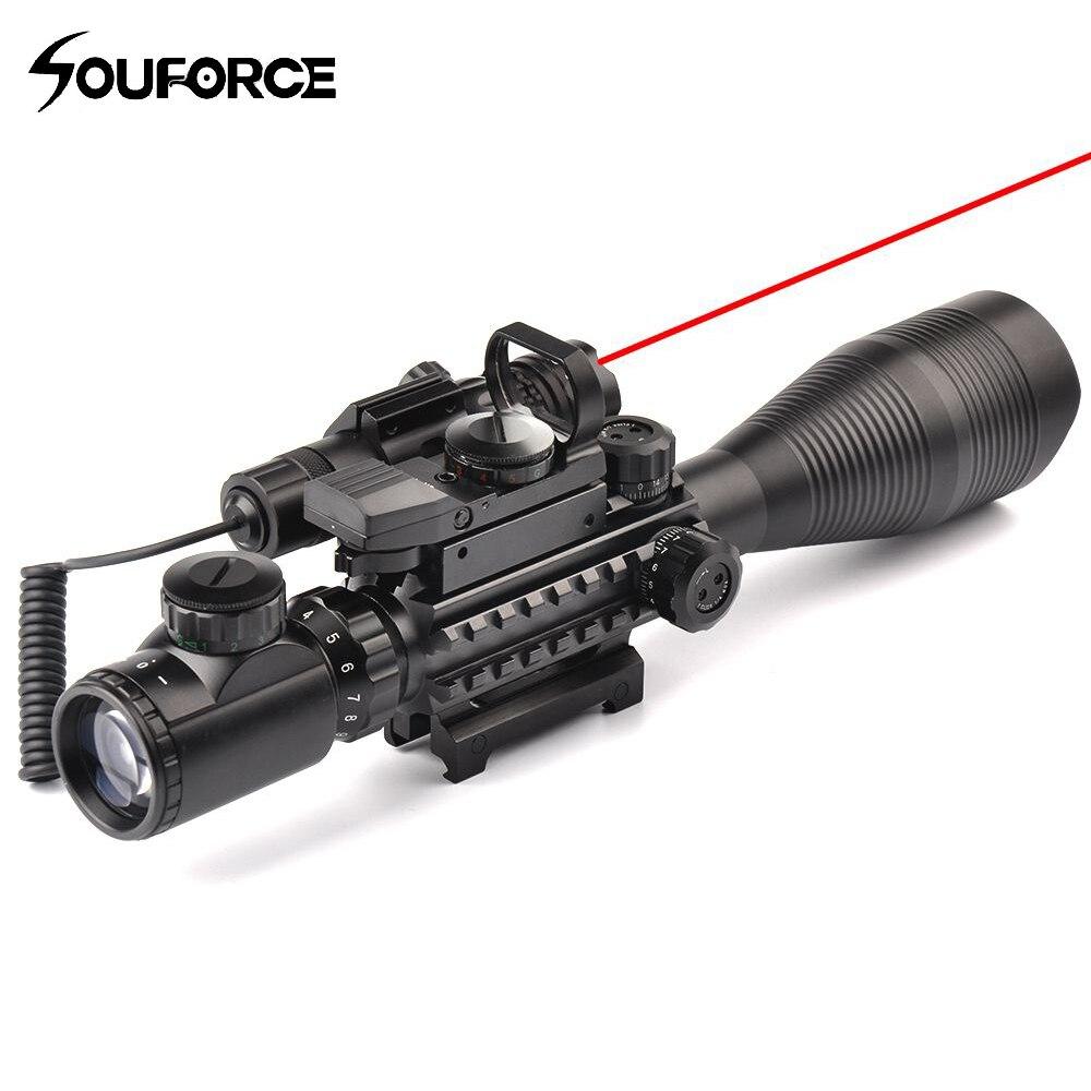 4-12X50EG Holográfica Rifle Scope + HD107 Micro Dupla Iluminado Dot Sight + Red/Green Laser Combo para Rifle Airsoft Vista de arma