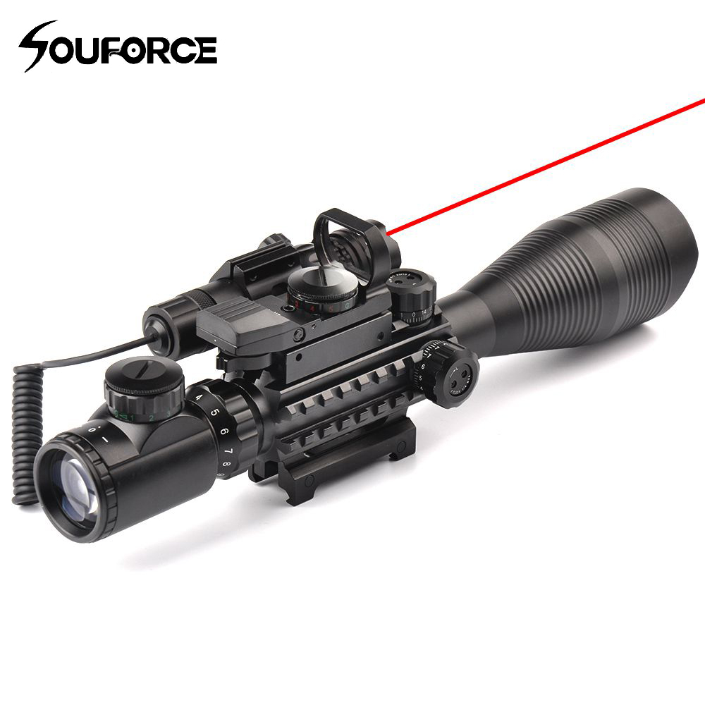 4-12X50EG Rifle Scope + HD107 Micro Holographic Dual Illuminated Dot Sight + Red/Green Laser Combo for Rifle Airsoft Gun Sight