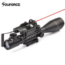 4-12X50EG Rifle Scope + HD107 Micro Holographic Dual Illuminated Dot Sight + Red/Green Laser Combo for Rifle Airsoft Gun Sight цены
