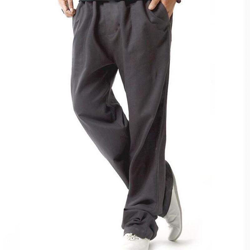 XMY3DWX herrbomull och linne i vårbyxor herrkläder i tunn modell / - Herrkläder - Foto 4