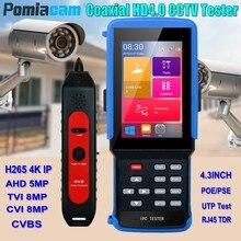 IPC9310 4.3 אינץ H.265 4 K IP מצלמה בודק 5MP AHD 8MP CVI TVI CVBS טלוויזיה במעגל סגור מצלמה בודק צג WIFI ONVIF POE UTP/RJ45 TDR מבחן